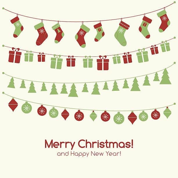 ilustraciones, imágenes clip art, dibujos animados e iconos de stock de navidad tarjeta de felicitación con garlands - social media