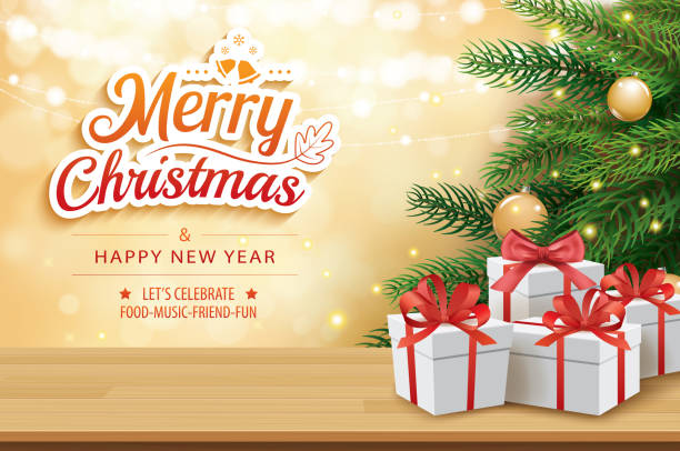 illustrazioni stock, clip art, cartoni animati e icone di tendenza di christmas greeting card with gifts boxes on wooden table and tree bokeh background. xmas and happy new year. - tavola natale
