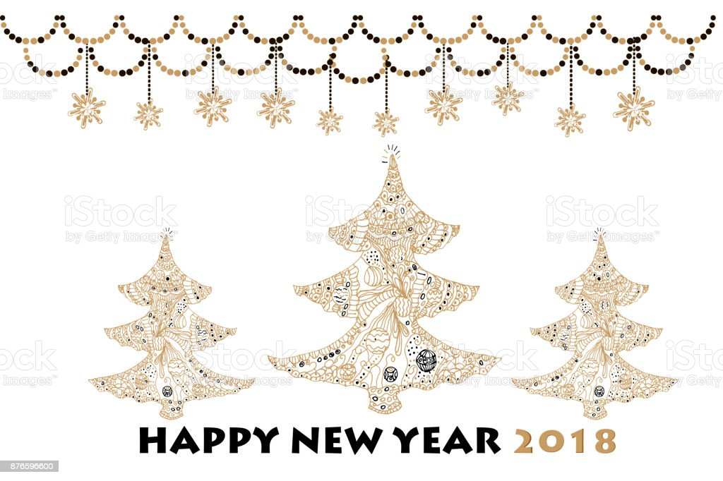 Christmas Greeting Card With Gold Snowflakes Stars And Christmas Trees Vector Holiday Illustration Text Nappy New Year 2018 Stock Vector Art More