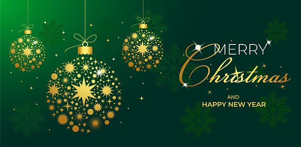 Christmas greeting card with golden balls