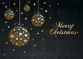 Christmas greeting card with golden balls - Illustration