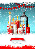 Christmas greeting card with group of candles and old black lantern in snow on dark brown wooden background, vector illustration, eps 10 with transparency