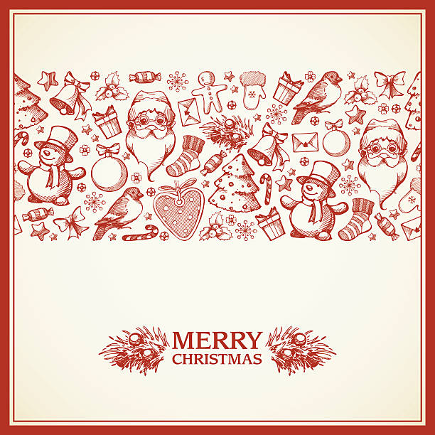 Christmas greeting card with hand draw elements Christmas greeting card with hand draw sketch  elements. Vintage template with border. Poster, banner, party invitation, greeting card design. Happy New Year. Marry Christmas. mistery stock illustrations