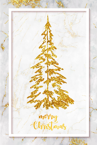 Christmas Greeting Card with Hand Drawn Glittering Gold Colored Pine Tree with Wooden Background. Christmas and New Year Greeting Card Background Template, Christmas Present Wrapping Paper.