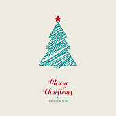 Christmas greeting card with hand drawn tree. Vector.