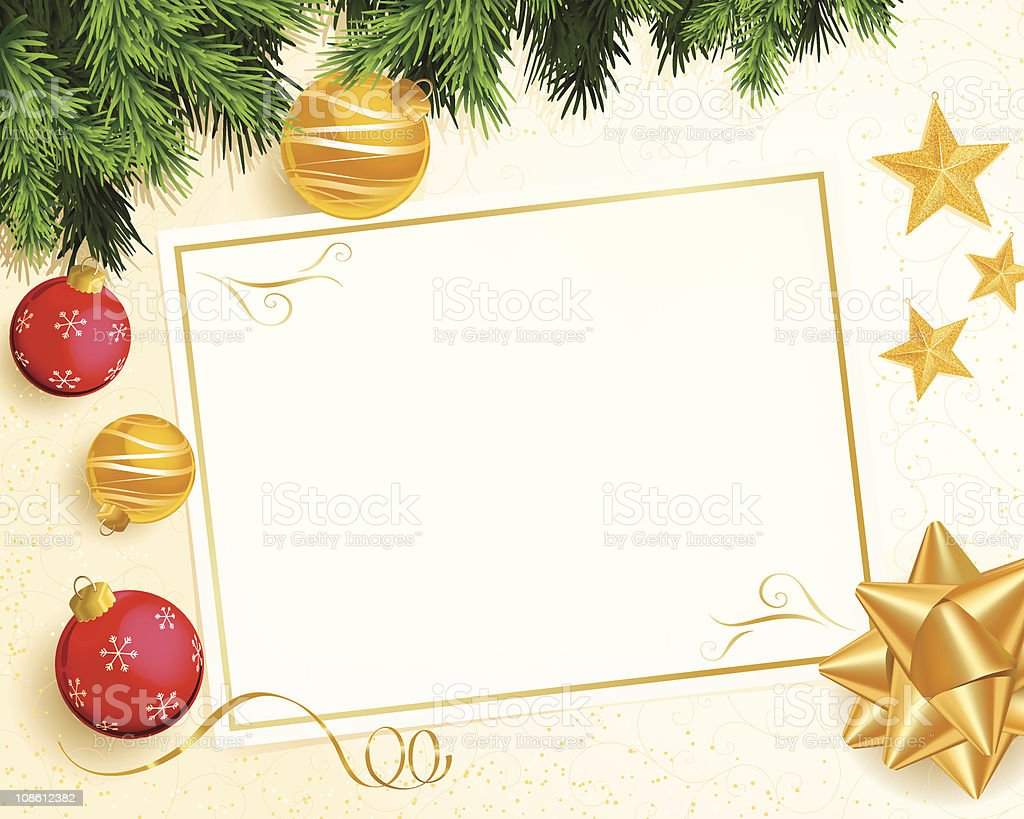 Christmas Greeting Card with Holiday Ornaments royalty-free stock vector art