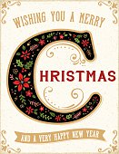 Christmas Greeting Card with Illuminated Letter