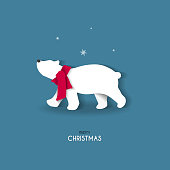 Illustrated Christmas animal for graphic decoration