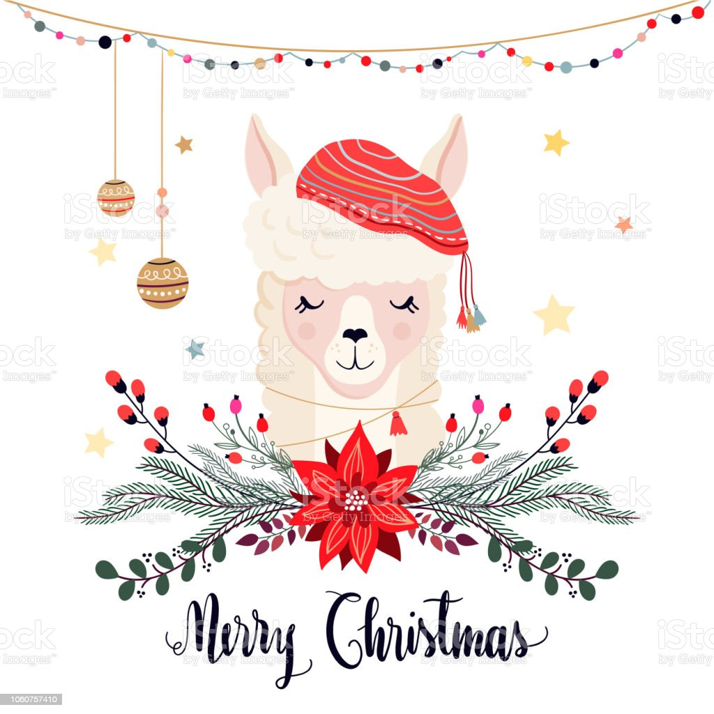 Christmas greeting card with llama vector art illustration