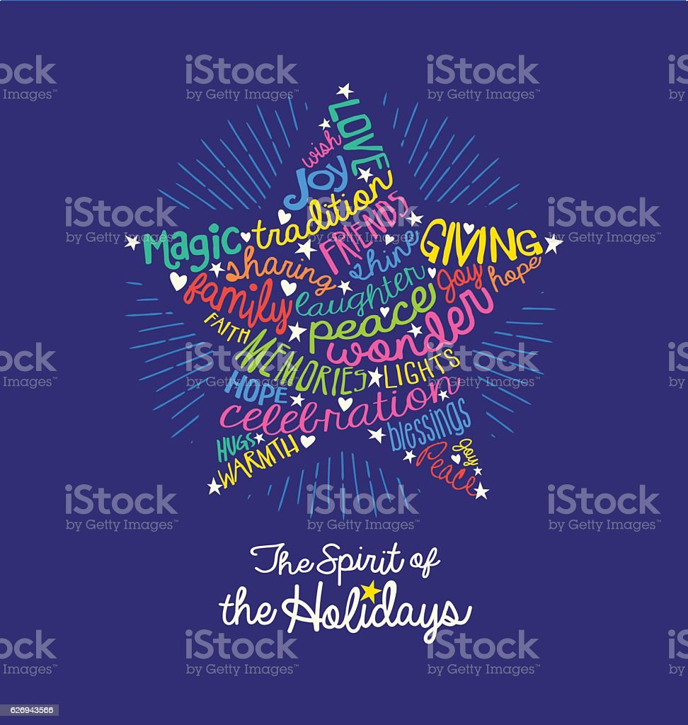 Christmas greeting card with meaningful handwritten words in star shape - ilustración de arte vectorial