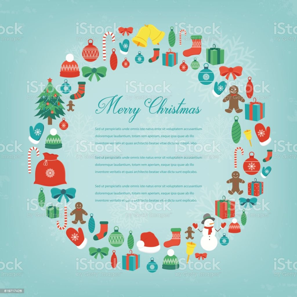 christmas greeting card with merry christmas and happy new year wishes christmas design elements