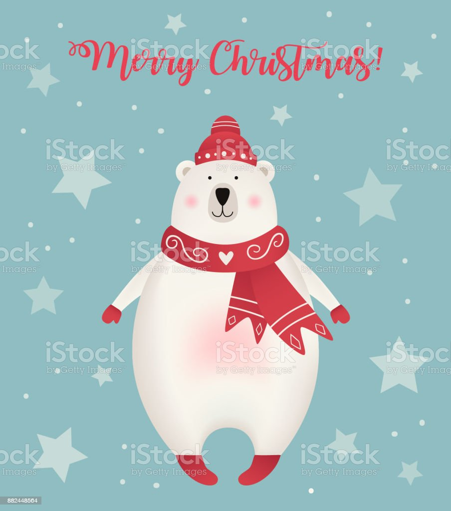 Christmas Wishes Bear.Christmas Greeting Card With Polar Bear Dressed In Hat And