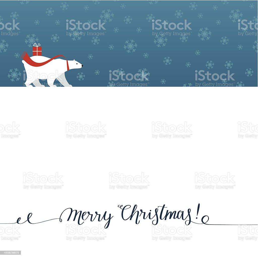 Christmas greeting card with polar bear vector art illustration