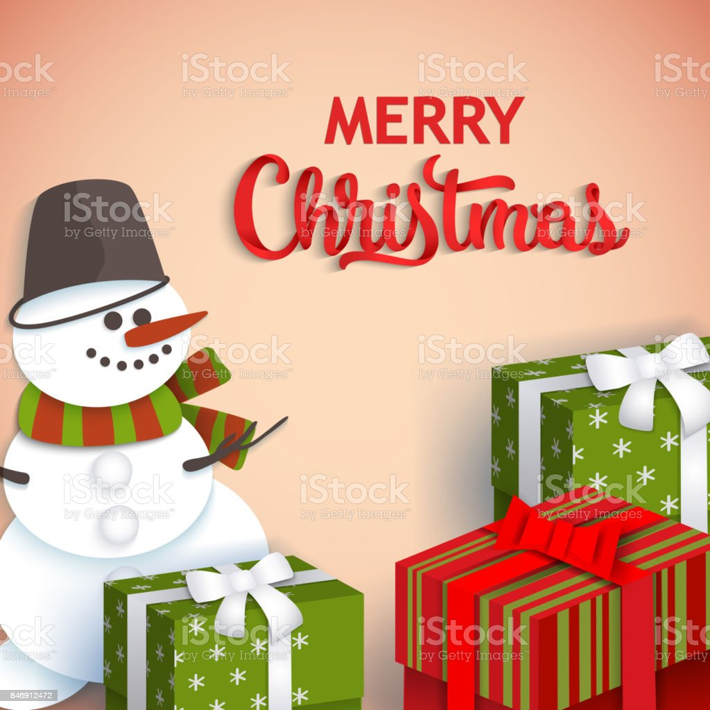 Christmas Greeting Card With Presents And Snowman Stock