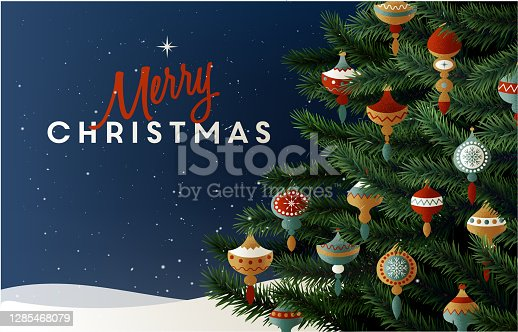 EPS 10 Christmas greeting card with realistic christmas tree branches. Beautiful Christmas background
