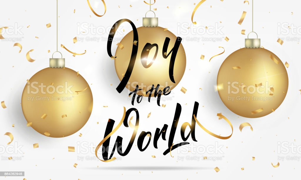 Christmas. Greeting card with realistic gold Christmas balls and confetti. Joy to the World lettering banner design royalty-free christmas greeting card with realistic gold christmas balls and confetti joy to the world lettering banner design stock vector art & more images of 2018