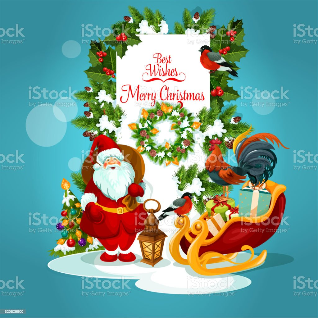 Christmas Greeting Card With Santa And Xmas Tree Stock Vector Art ...