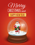 Christmas greeting card, poster with Santa Claus in the snow globe. Vector illustration. Merry christmas and Happy new year lettering text