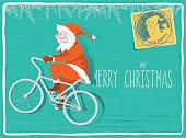 flat illustration card of santa claus riding on bike