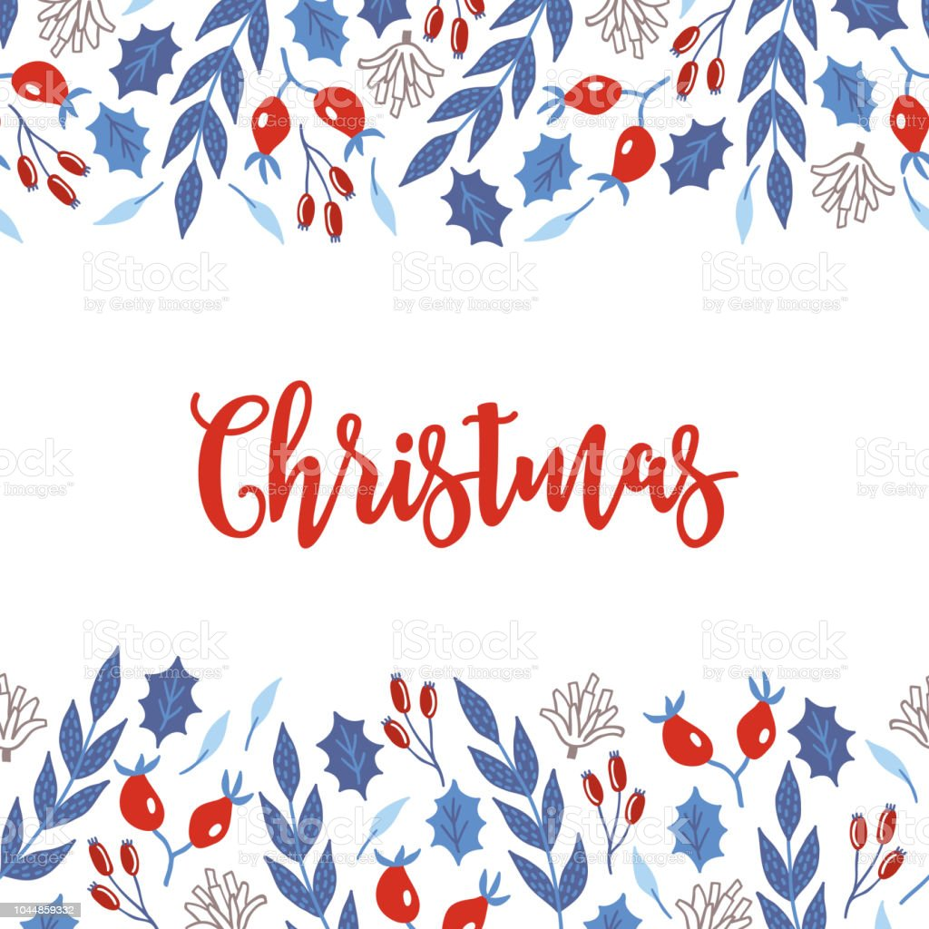 christmas greeting card with seamless border briar cones