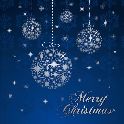 Christmas greeting card with silver balls.