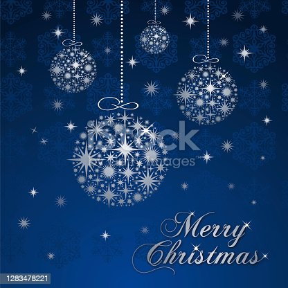 istock Christmas greeting card with silver balls. 1283478221