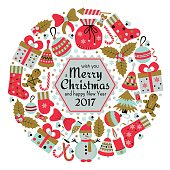 Christmas greeting card with text Merry Xmas and many winter doodle toys. Wreath shape. Vector illustration.