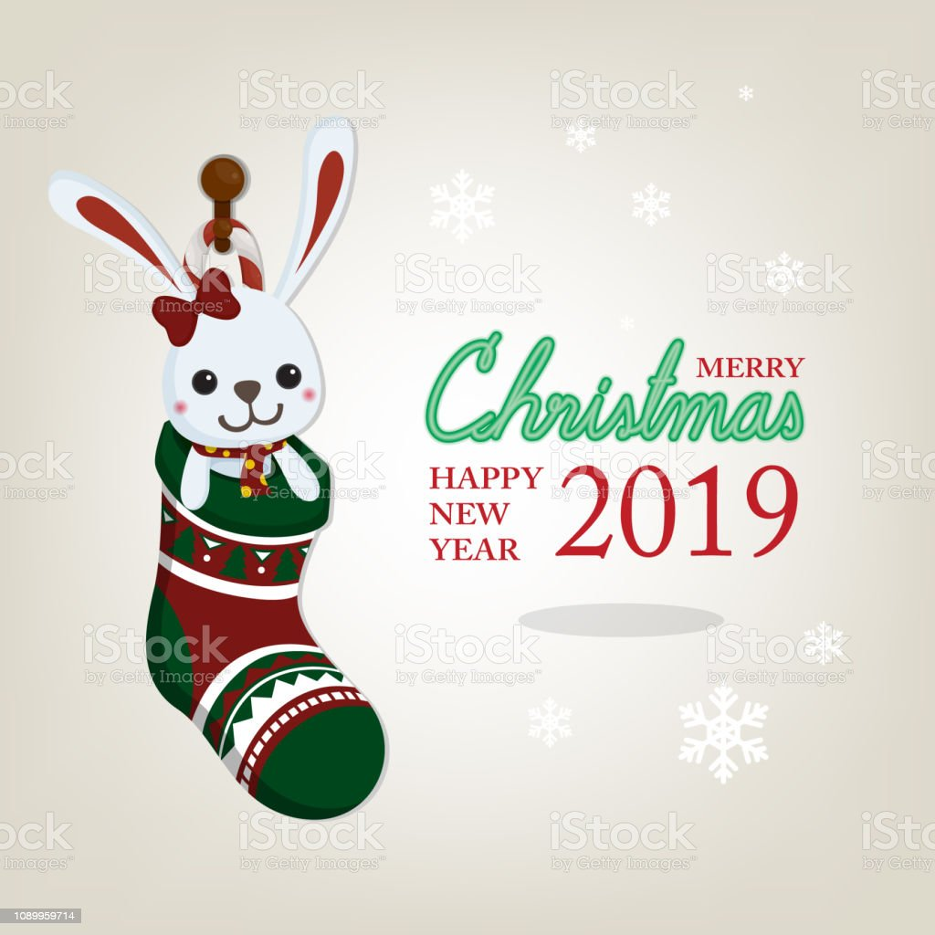Christmas greeting card with Toy in christmas sock on white christmas...