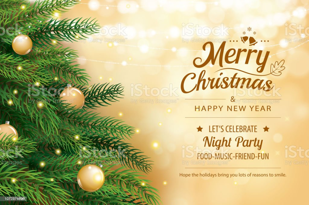 Weihnachtsgrußkarte mit Baum und Gold Bokeh Lichter Hintergrund weichzeichnen. Weihnachten und glückliches neues Jahr. Vektor-Illustration für Abdeckung, Banner, Vorlage. - Lizenzfrei Abstrakt Vektorgrafik