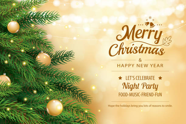 ilustrações de stock, clip art, desenhos animados e ícones de christmas greeting card with tree and gold blur bokeh lights background. xmas and happy new year. vector illustration for cover, banner, template. - christmas tree
