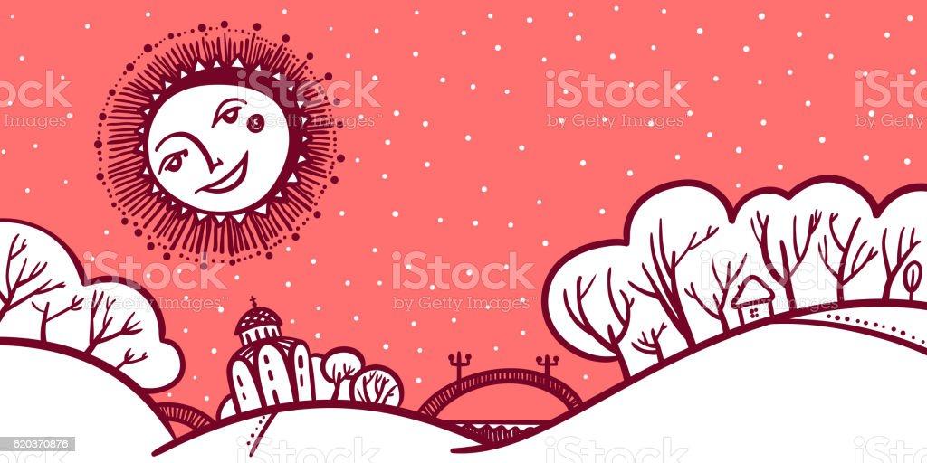 Christmas greeting card with winter landscape christmas greeting card with winter landscape - arte vetorial de stock e mais imagens de a nevar royalty-free