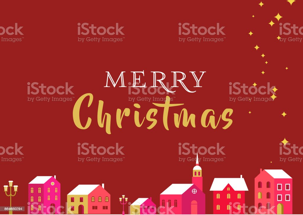 Christmas  greeting card with winter village and lettering vector art illustration