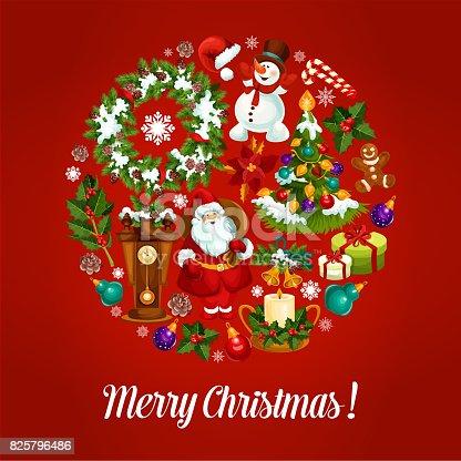 Christmas Greeting Card With Xmas Symbols Circle Stock Vector Art