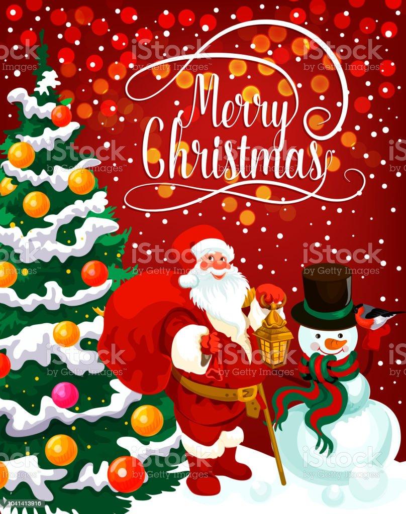 Christmas greeting card with xmas tree and santa stock vector art christmas greeting card with xmas tree and santa royalty free christmas greeting card with xmas m4hsunfo