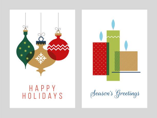 bildbanksillustrationer, clip art samt tecknat material och ikoner med julhälsning kort samling-illustration. - julkulor
