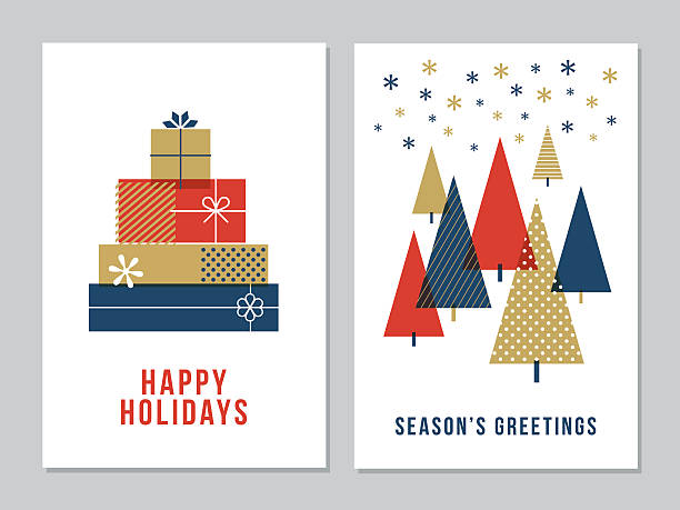 christmas greeting cards collection - illustration - holiday stock illustrations, clip art, cartoons, & icons