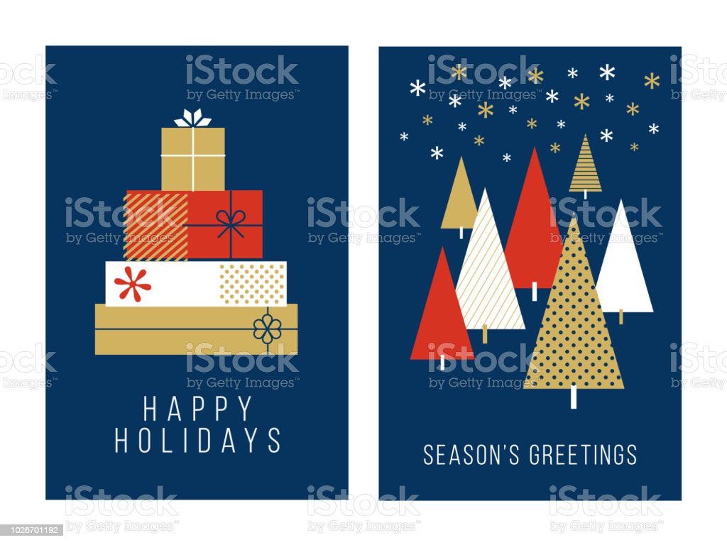 Christmas Greeting Cards Collection Stock Vector Art More Images