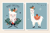 Christmas greeting cards collection with llama and seasonal elements