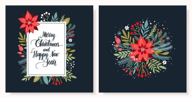 stockillustraties, clipart, cartoons en iconen met kerst wenskaarten collectie - kerstster