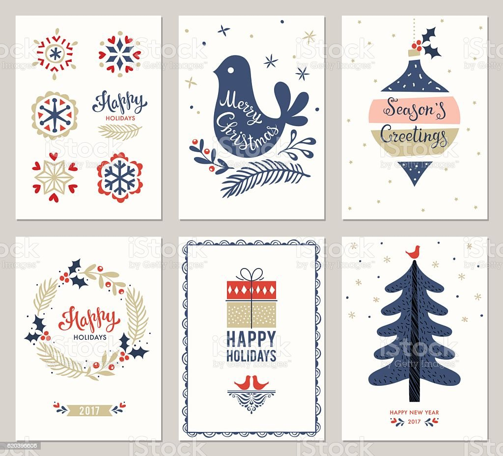 Christmas Greeting Cards Collection vector art illustration