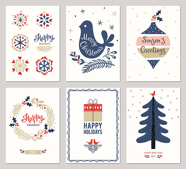 christmas greeting cards collection - holiday stock illustrations, clip art, cartoons, & icons