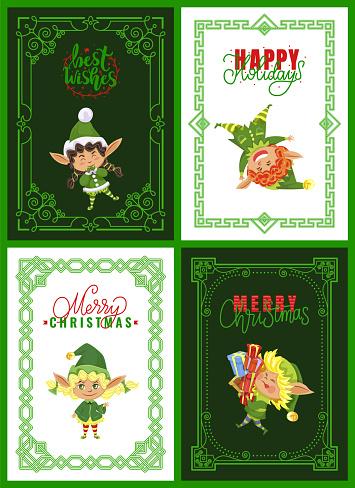 Christmas Greeting Cards, Elves or Santa Helpers