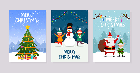 Christmas greeting cards or party invitations. Set of posters with christmas tree, santa claus and kids.