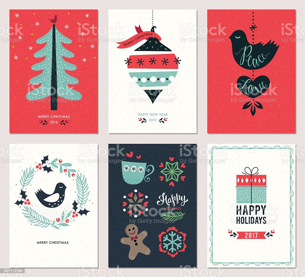 Christmas Greeting Cards Set vector art illustration