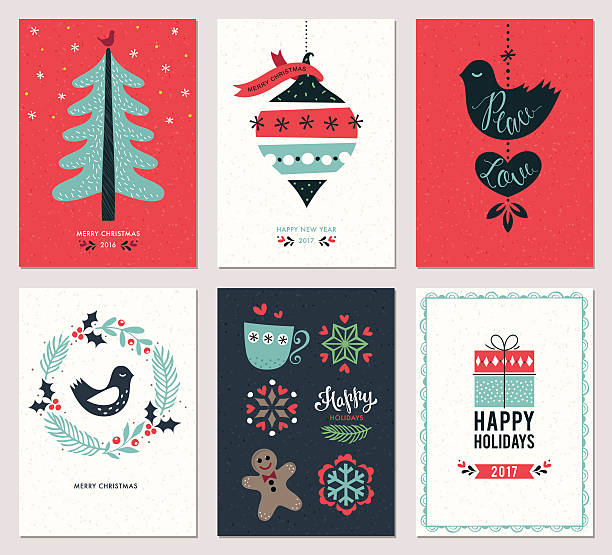 christmas greeting cards set - weihnachtskarten stock-grafiken, -clipart, -cartoons und -symbole