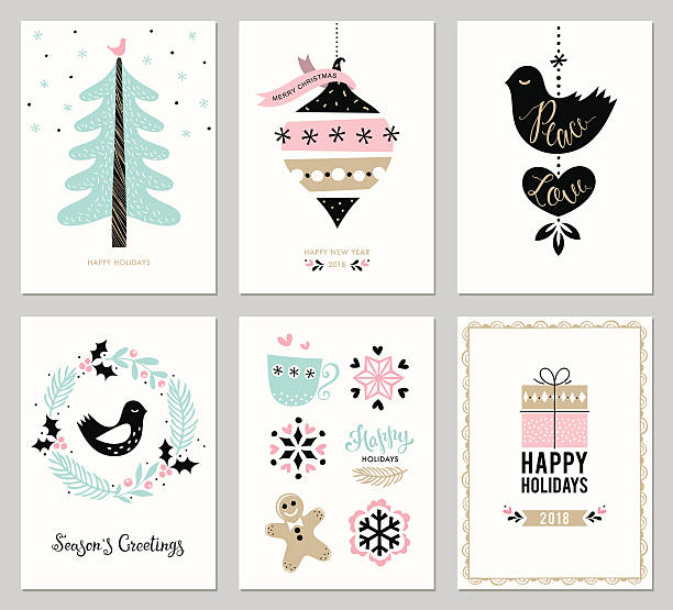 Christmas Greeting Cards Set Merry Christmas and Happy Holidays cards set with New Year tree, snowflakes, gift box, dove, bird andwreath. Greeting cards in trending pink, gold and black colors. Vector illustration. cake borders stock illustrations