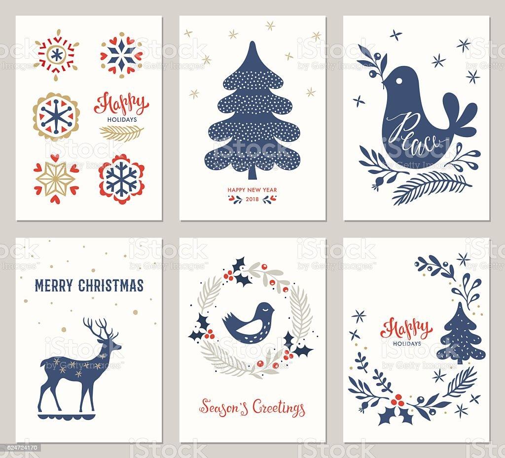 Christmas Greeting Cards Set向量藝術插圖
