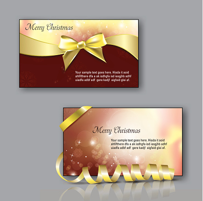 Christmas Greeting Cards With Golden Bow And Ribbon Stock