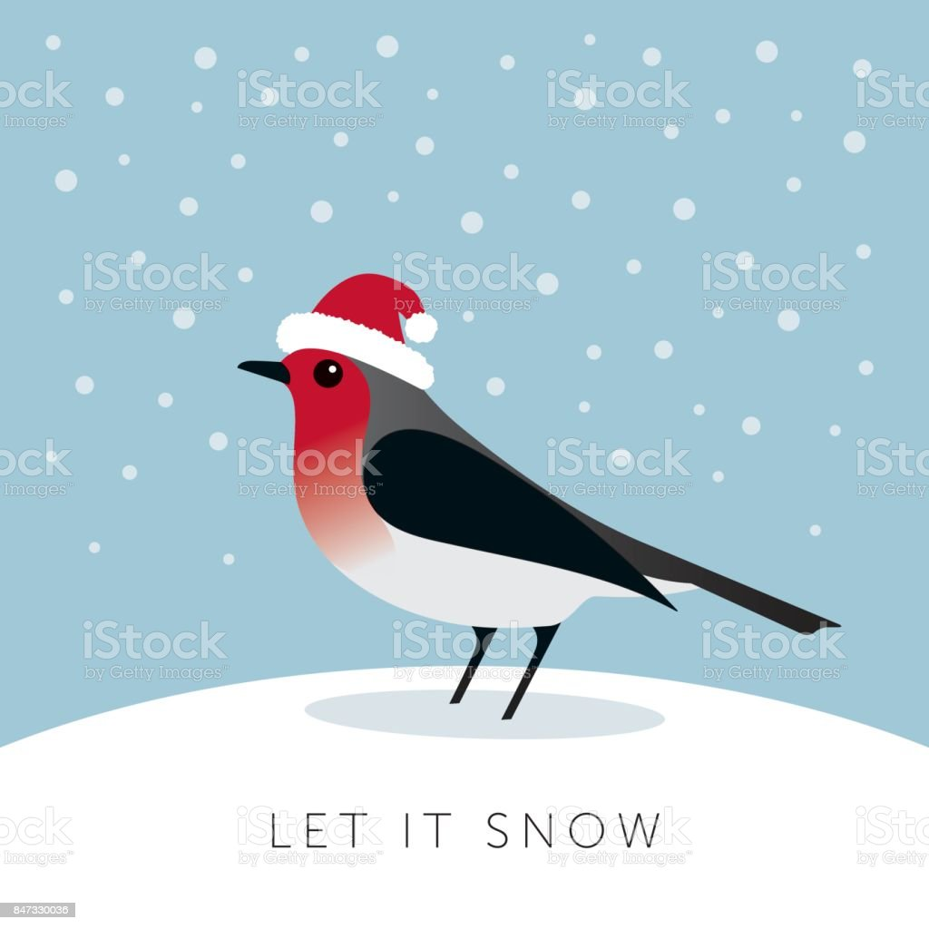 Christmas Greeting Cards With Robin Bird Stock Vector Art & More ...
