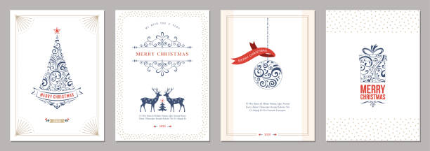 Christmas Greeting Cards_02 Merry Christmas and Happy Holidays cards set holiday background stock illustrations